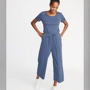 Pants - Waist-Defined Wide-Leg French-Terry Jumpsuit